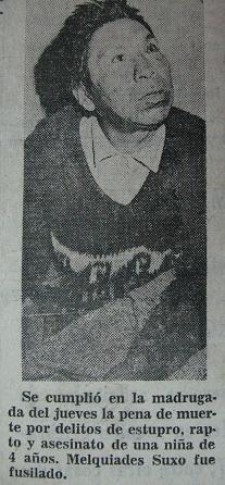Foto del último boliviano ejecutado. Foto de El Diario, de agosto de 1973